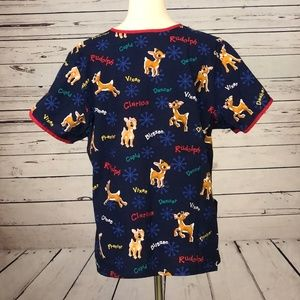 Tops - Rudolph Red Nosed Reindeer Scrub Top Large Blue